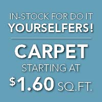 Carpet on sale starting at $1.60 sq. ft. In-stock for do it yourselfers. same day pickup available