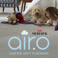 Airo carpet from Mohawk is hypoallergenic, easy to clean and VOC-free to give you true peace of mind - stop by to see our selections!